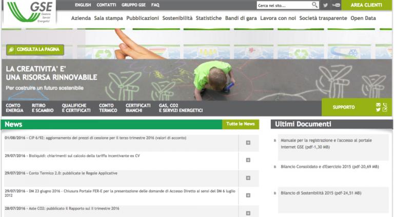 Energia: online portale Gse per diffondere autoconsumo fotovoltaico