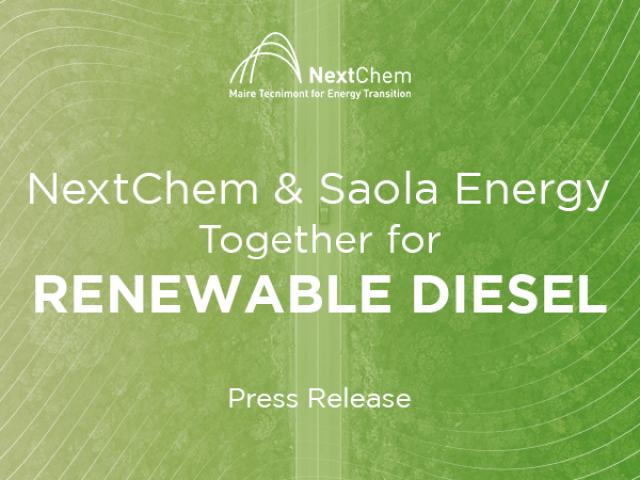 Combustibili rinnovabili, ecco l'accordo tra NextChem e Saola Energy