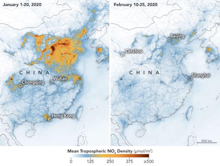 Coronavirus, immagini Nasa mostrano riduzione inquinamento in Cina