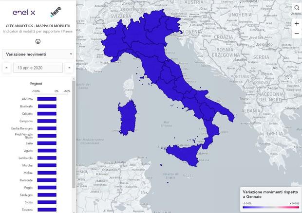 Coronavirus: Enel X mappa il traffico e gli spostamenti