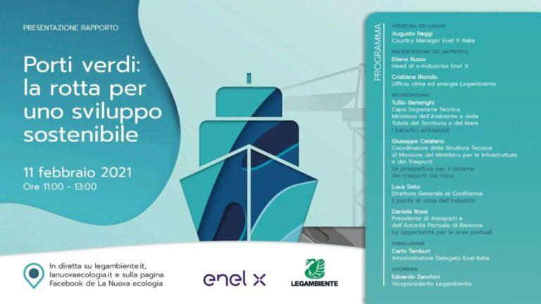 """Sviluppo sostenibile, progetto di Legambiente e Enel X per i porti """"green"""""""