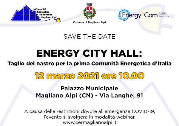 12 marzo, taglio del nastro per la prima Comunità energetica in Italia